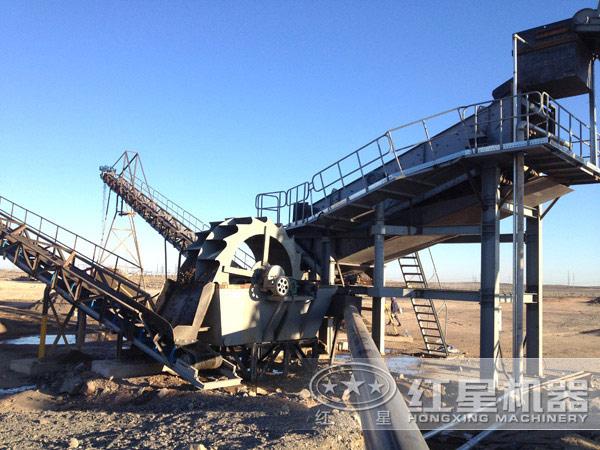 一小时60吨-200吨的石粉洗砂机工作现场