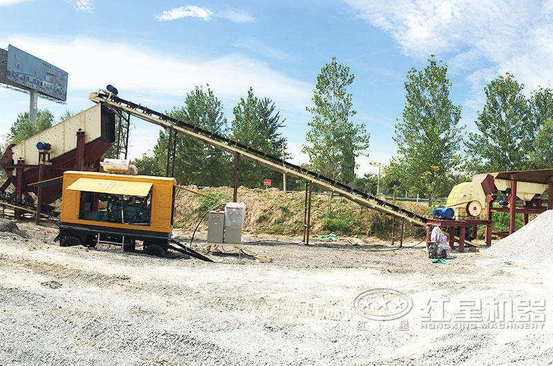 配锤式破碎机的路面石料生产线