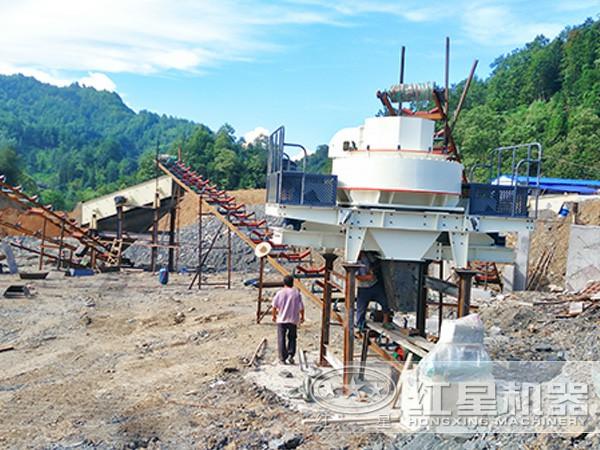 新型制砂机工作现场