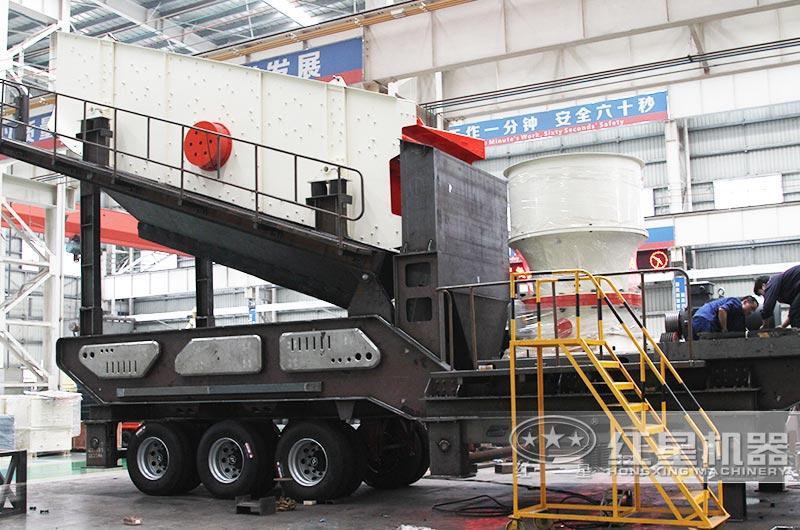 时产200-300吨青石移动磕石子机配圆锥破