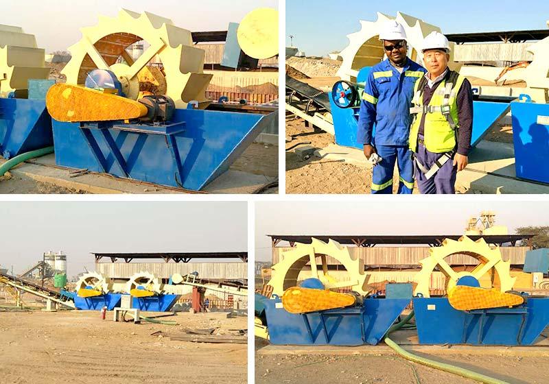 哈萨克斯坦用户生产现场,型号3020花岗岩石粉洗砂机产量80-200t/h