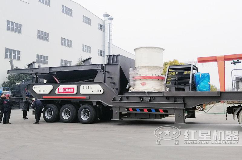 时产30-300吨流动式磕石子机:圆锥破碎机