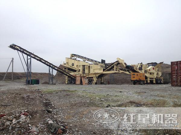 时产200吨废钢渣移动破碎机占地面积小