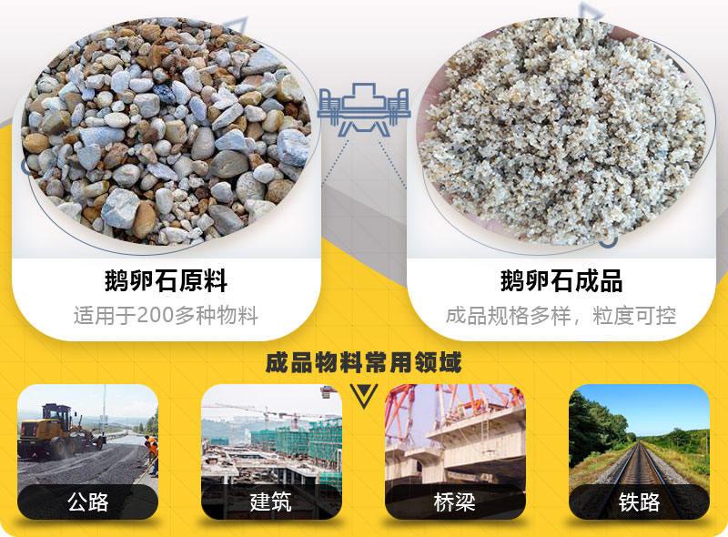 鹅卵石制砂机破碎前后对比