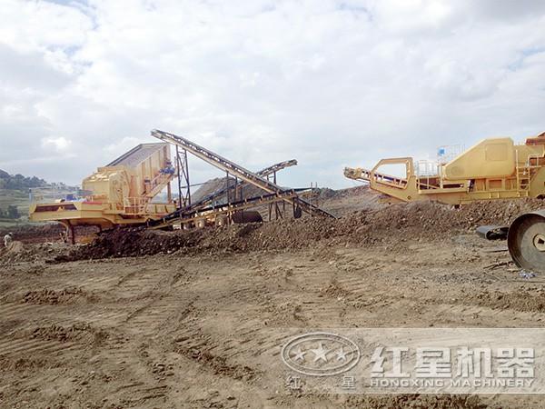 灵活移动型的石英砂制砂生产线现场