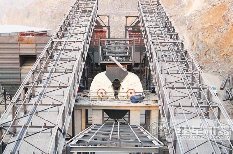 配锤破机的日产6万吨石子破碎生产线现场