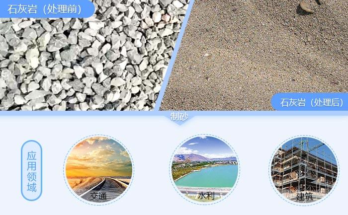 石灰岩物料前后对比