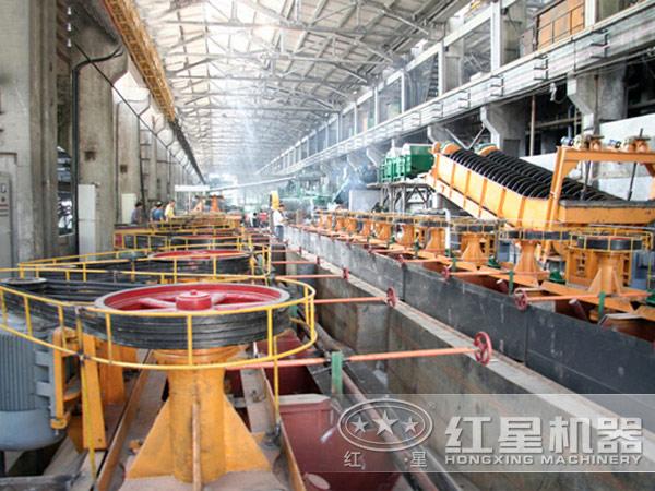 矿用浮选机生产现场:环保效能高
