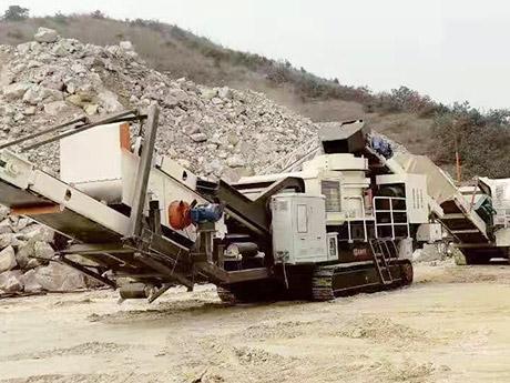 河南郑州时产280吨履带移动建筑垃圾处理生产线