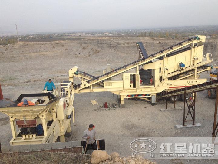 移动式时产300吨花岗岩机制砂生产线