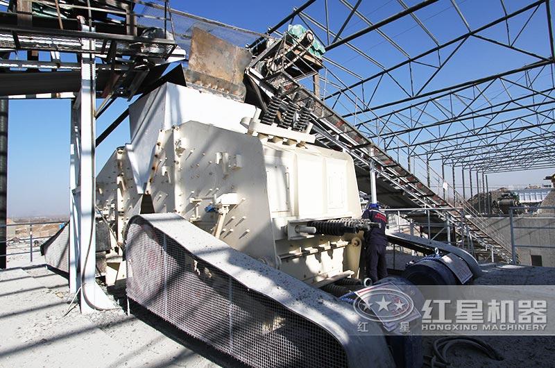 安徽时产500-600吨石灰岩破碎生产线现场:反击破