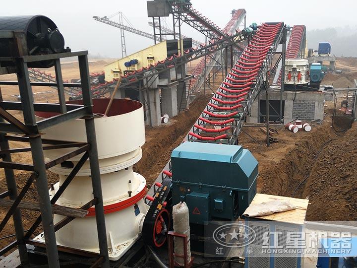 安徽时产700吨石英石破碎生产线现场图