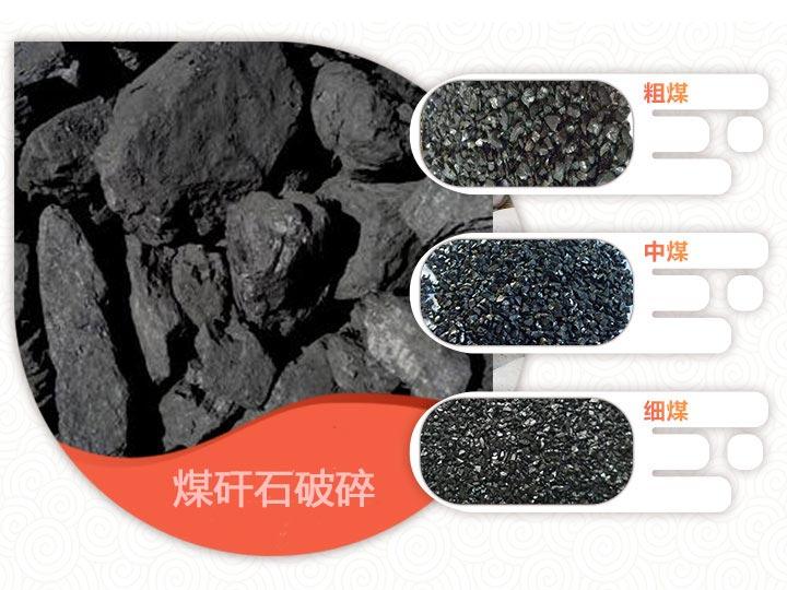 煤矸石破碎前后