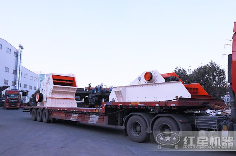 一套日产2000吨小型碎石机发货:反击破+振动给料机