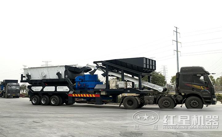 车载时产300吨鹅卵石移动制沙机上路了,移动自由更灵活