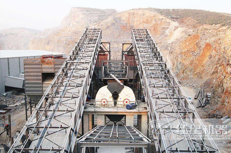 锤破机人造沙生产线现场