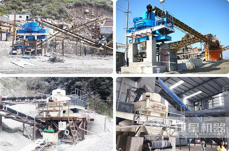 时产400-500吨大型环保磕沙机作业现场