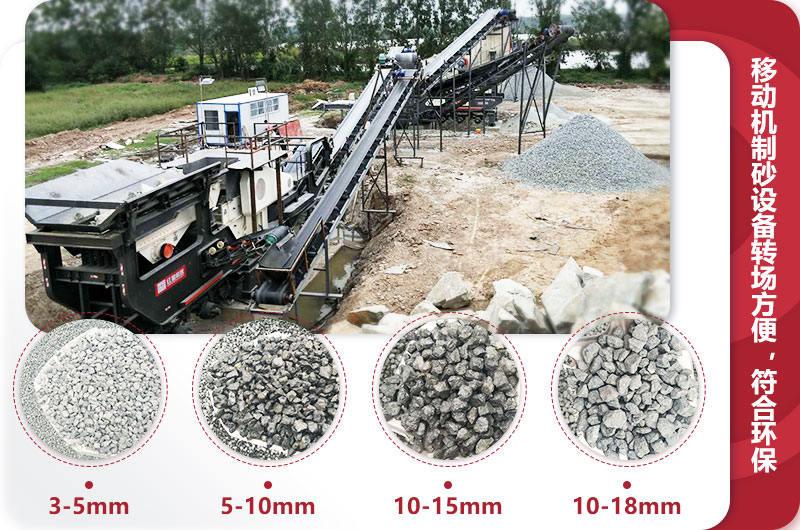 环保移动制砂生产线现场:多种出料规格