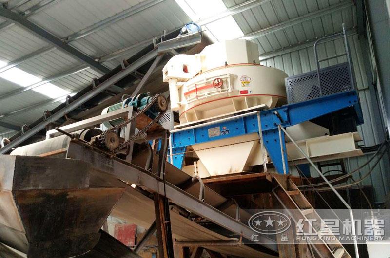 环保型石子生产线制砂机现场,运行稳定,故障率低