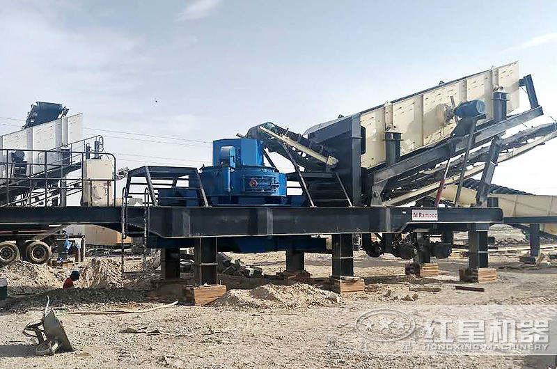 河北时产100吨石灰石移动制砂生产线现场