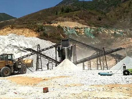 湖南时产200吨石灰石移动破碎生产线