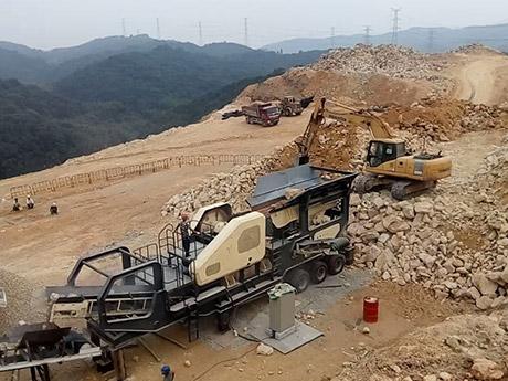 时产400吨石灰石移动破碎生产线现场安徽滁州