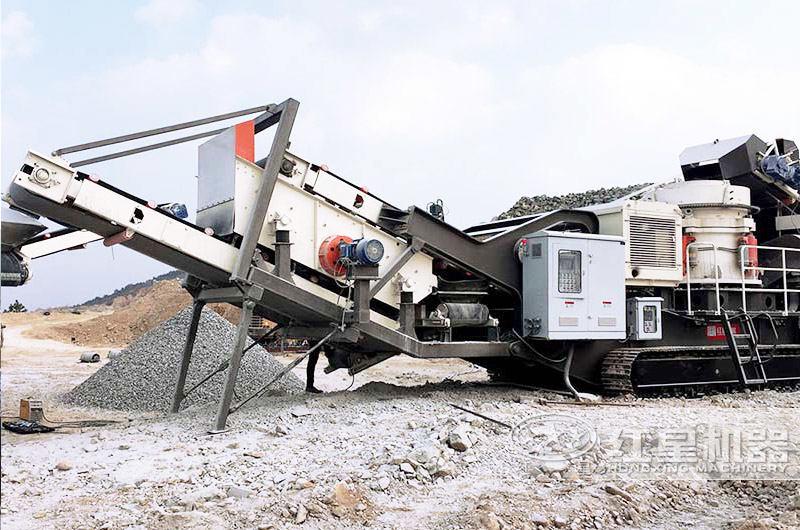 时产200吨移动碎石生产线现场