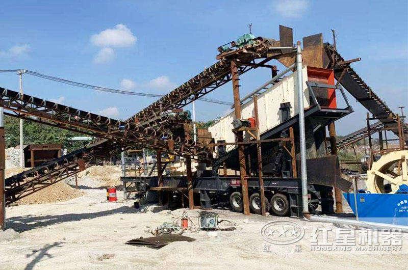 湖北移动制砂筛分破碎机生产现场