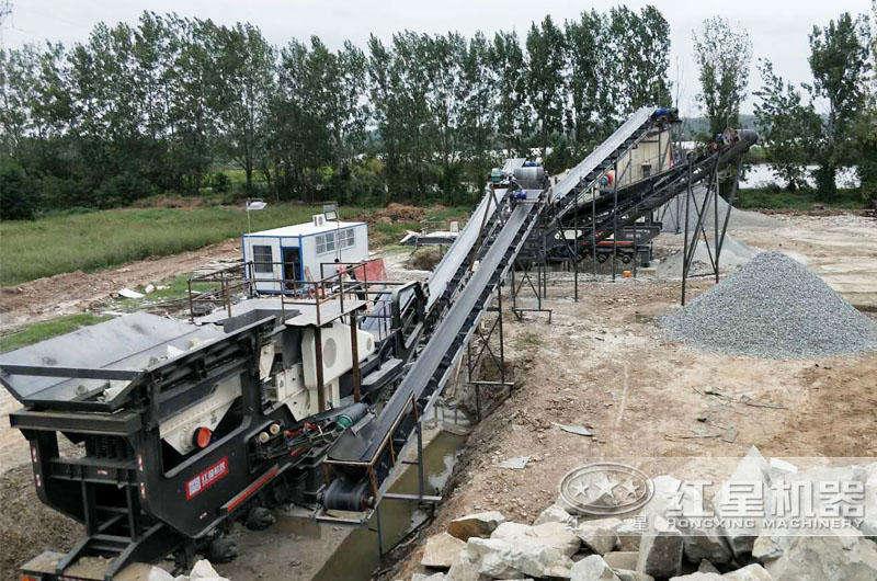 安徽全自动流动碎石打沙机生产线现场