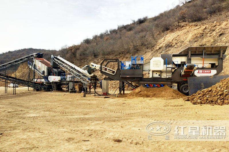 移动式鄂破+移动式反击:石头制成砂生产线