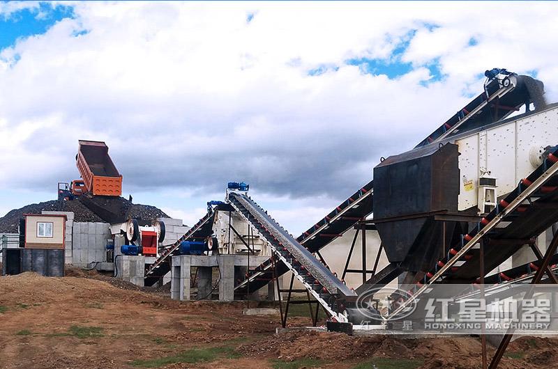 甘肃天水时产200吨石头加工沙子生产线现场