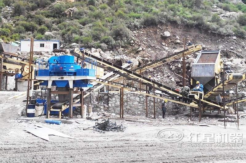 河卵石石子制砂生产线现场