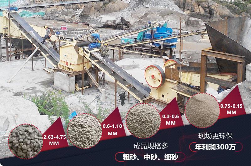 山西制砂生产线现场,多种粗砂、中砂、细砂出料规格
