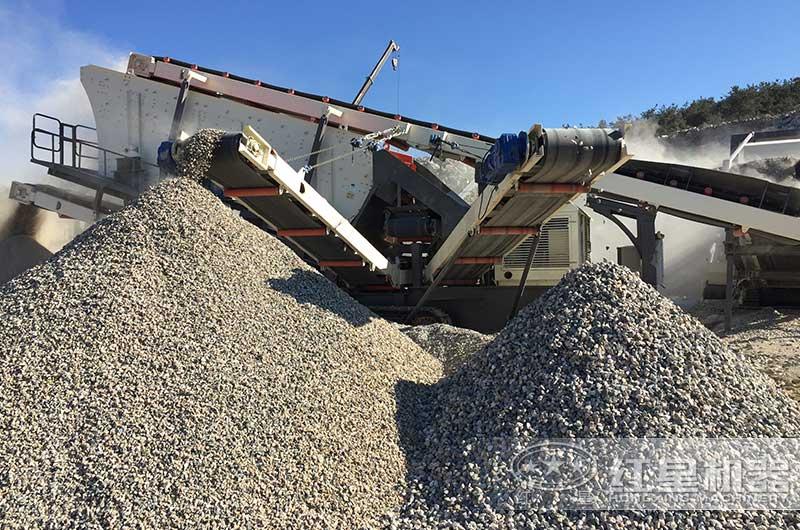 移动小型石料粉碎机作业现场
