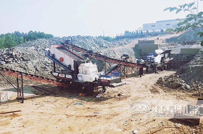 拆迁垃圾石头粉碎生产现场