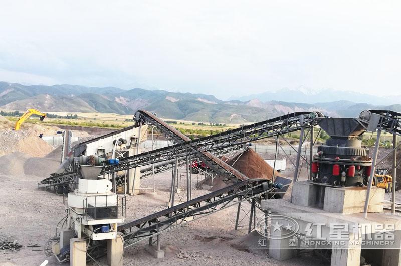 花岗岩下脚料机制砂生产线现场图片