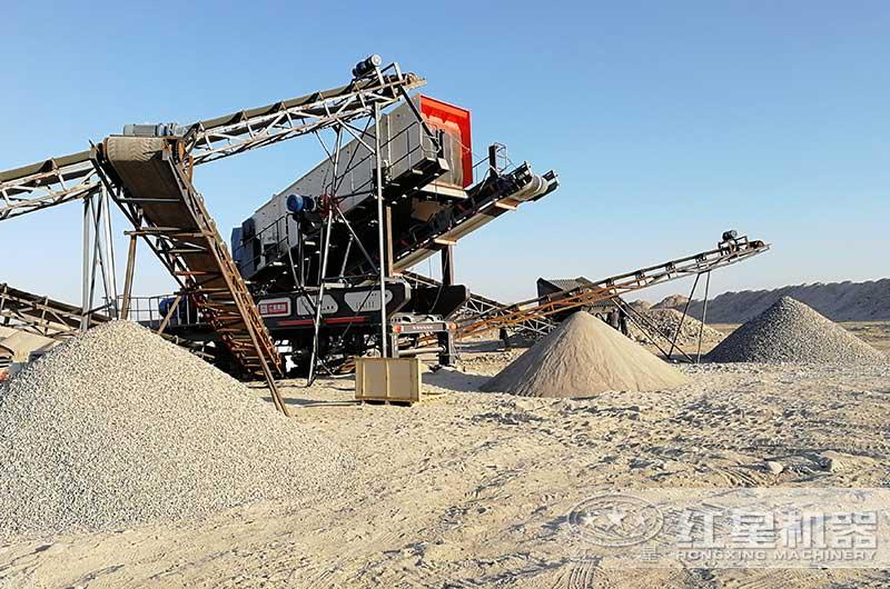 移动式石灰岩破碎制沙生产线现场图