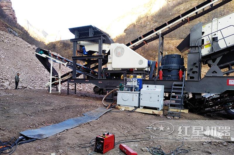 移动式砂岩做机制砂生产现场