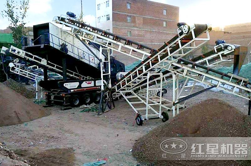 西安客户大型砖渣粉碎生产现场