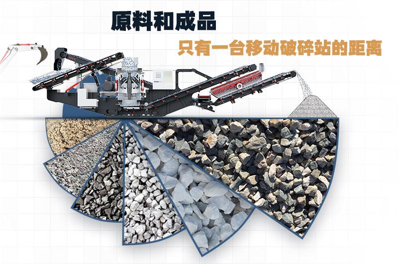 石头移动破碎机,一机顶一条生产线