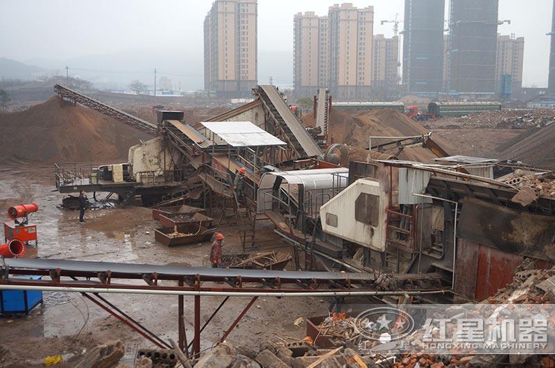 日产1000-2000吨建筑垃圾生产线作业现场