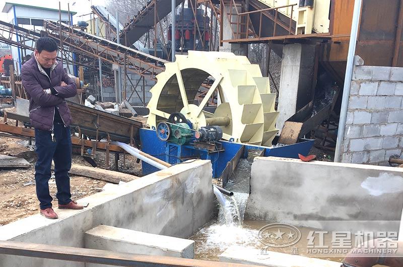 洗砂机生产现场,配置沉淀池