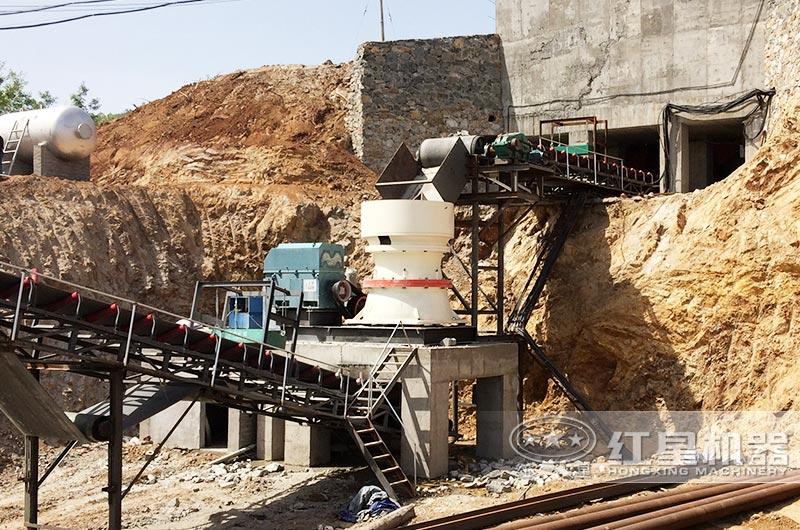 时产200吨河石碎砂生产线,圆锥破碎机图