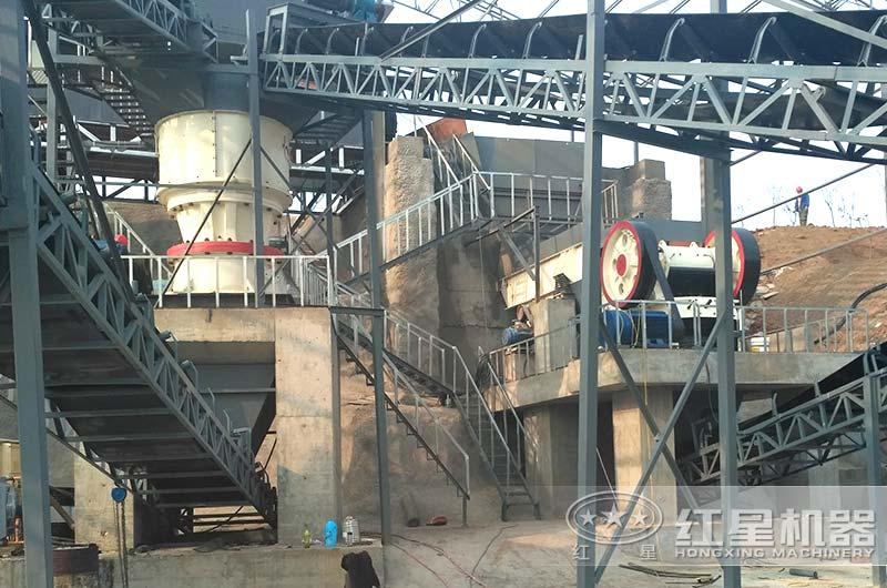 河南客户时产500吨沙石料加工厂
