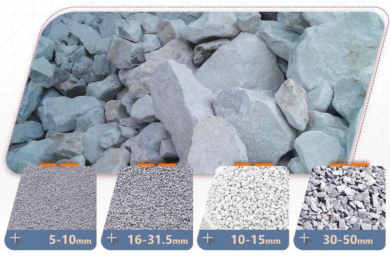 石灰岩不同规格物料成品