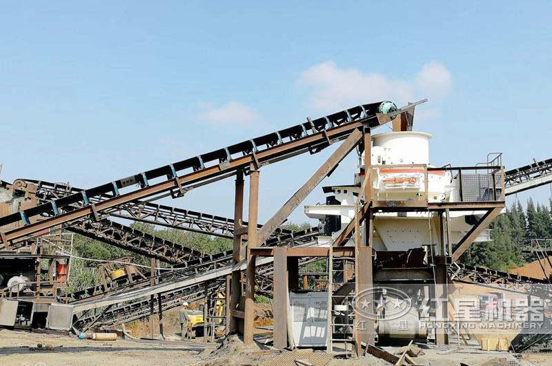 一小时300吨石英石制砂生产线现场