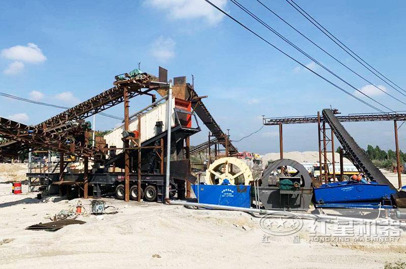 一小时300吨石英石制砂生产线移动现场