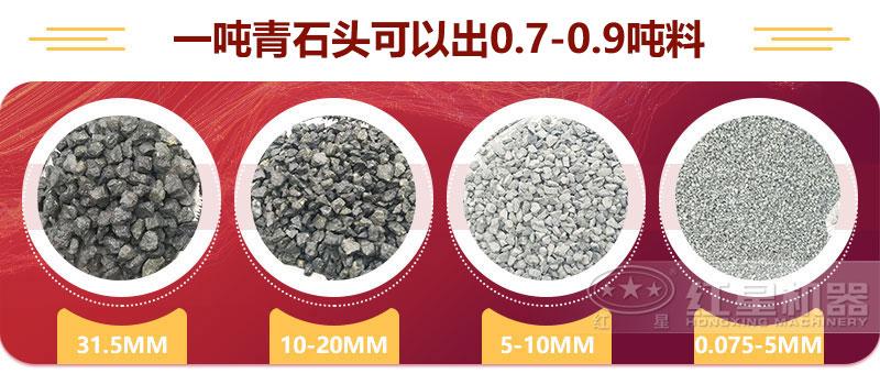 一吨青石头可以出0.7-0.9吨料