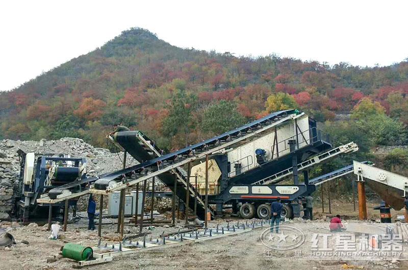 山西时产300-400吨移动石头破碎生产线现场