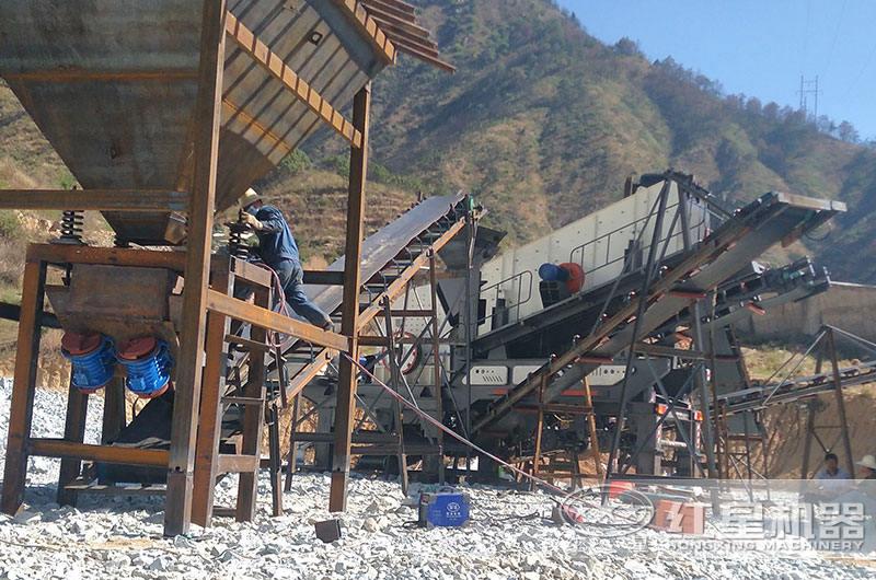 流动石子加工机作业现场图片